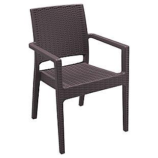 Siesta Outdoor Ibiza Wickerlook Dining Arm Chair Brown (Set of 2), Brown, large