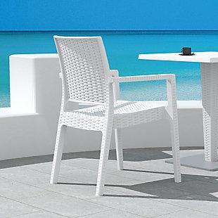 Siesta Outdoor Ibiza Wickerlook Dining Arm Chair White (Set of 2), , rollover