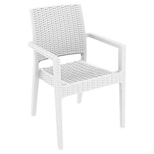 Siesta Outdoor Ibiza Wickerlook Dining Arm Chair White (Set of 2), , large
