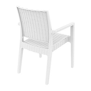 Siesta Outdoor Ibiza Wickerlook Dining Arm Chair White (Set of 2), White, large