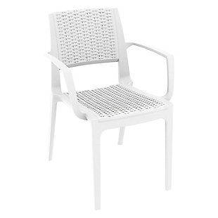 Siesta Outdoor Capri Dining Arm Chair White (Set of 2), , large