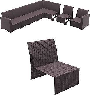 Siesta Outdoor Monaco Sectional Extension Part Brown with Natural Cushion, Brown, rollover