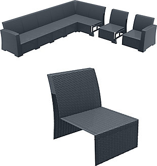 Siesta Outdoor Monaco Sectional Extension Part Dark Gray with Natural Cushion, Dark Gray, rollover