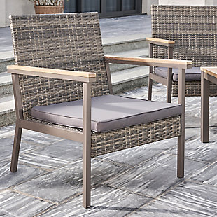 Vifah 4-Piece Outdoor All-Weather Resin Wicker Lounge Sofa with Cushion Set, , large