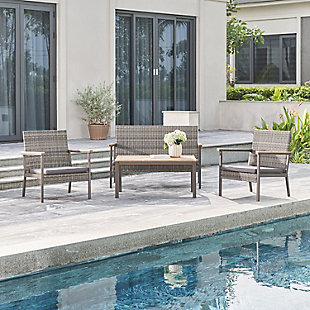 Vifah 4-Piece Outdoor All-Weather Resin Wicker Lounge Sofa with Cushion Set, , rollover