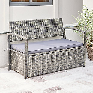 Vifah Outdoor All-weather Resin Wicker Lounge Patio Sofa Storage Bench with Cushion, , rollover