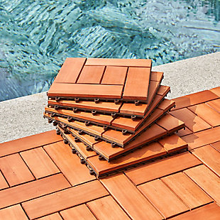 Vifah Outdoor Eucalyptus Interlocking Wooden Deck tile, , rollover