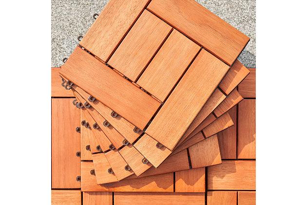 Vifah Outdoor Eucalyptus Interlocking Wooden Deck tile, , large