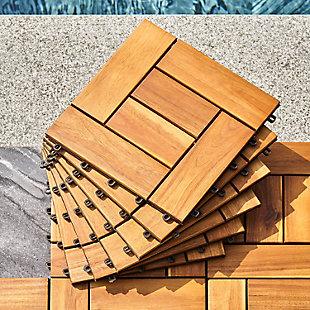 Vifah Outdoor Acacia Interlocking Wooden Deck tile, , rollover