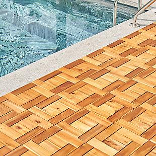 Vifah Outdoor Acacia Interlocking Wooden Deck tile, , large