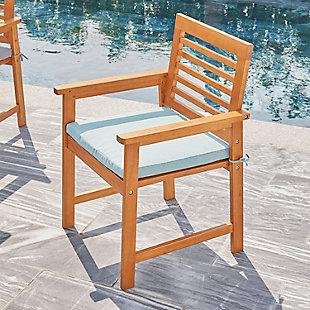 Vifah Outdoor Slatted Patio Eucalyptus Wood Dining Armchair with Cushion, , rollover