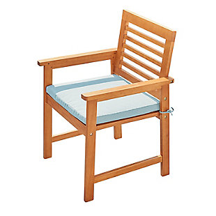 Vifah Outdoor Slatted Patio Eucalyptus Wood Dining Armchair with Cushion, , large