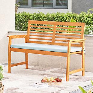 Vifah Outdoor Slatted Eucalyptus Wood Garden Bench with Cushion, , rollover