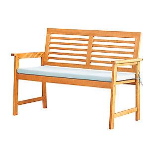 Vifah Outdoor Slatted Eucalyptus Wood Garden Bench with Cushion, , large