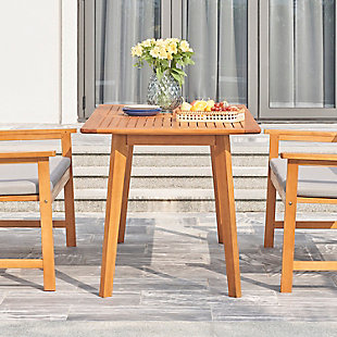 Vifah Outdoor Slatted Eucalyptus Wood Patio Dining Table, , rollover