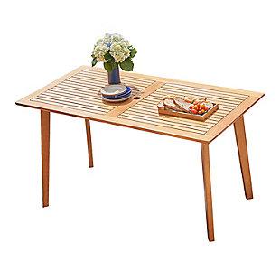 Vifah Outdoor Slatted Eucalyptus Wood Patio Dining Table, , large