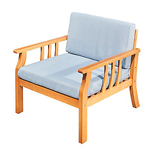 Vifah Outdoor Nautical Curve Eucalyptus Wooden Outdoor Sofa Chair with Cushion, , large