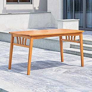 Vifah Outdoor Eucalyptus Wooden Dining Table with Umbrella Hole, , rollover