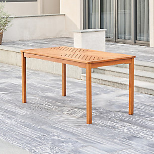 Vifah Outdoor Fish Bone Eucalyptus Wooden Patio Dining Table, , rollover
