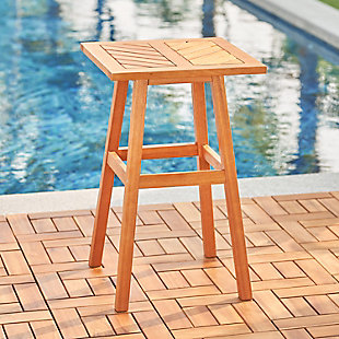 Vifah Outdoor Fish Bone Eucalyptus Wooden Side Table, , rollover