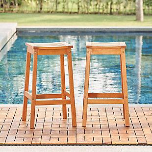 Vifah 2-Piece Outdoor Eucalyptus Wooden Outdoor Dining Stool Set, , rollover
