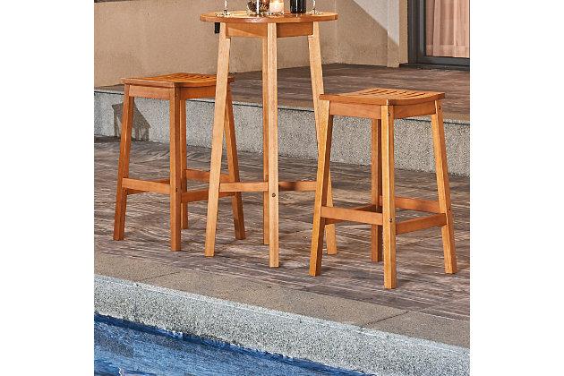 Vifah 2-Piece Outdoor Eucalyptus Wooden Outdoor Dining Stool Set, , large