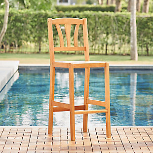 Vifah Outdoor Nautical Eucalyptus Wooden Bar Chair, , rollover