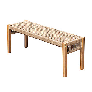 Vifah Outdoor Two Seater Patio Acacia Wood Mixed Strapped Rattan Garden Bench, , large