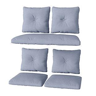 CorLiving 7-Piece Outdoor Replacement Cushion Set, Blue, large