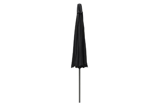 CorLiving 10' Outdoor Round Tilting Patio Umbrella, Black, large