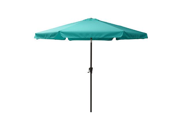 CorLiving 10' Outdoor Round Tilting Patio Umbrella, Blue, large