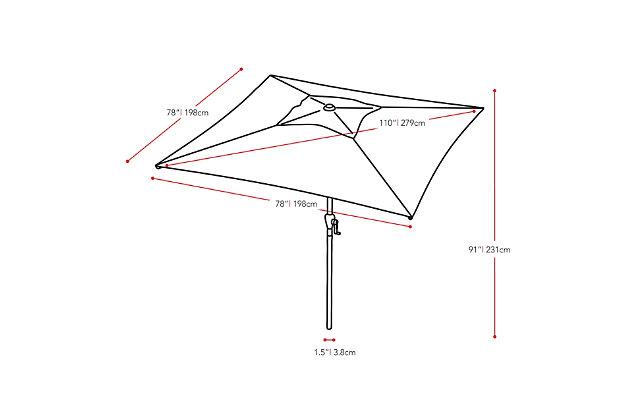 CorLiving 9' Outdoor Square Tilting Patio Umbrella, Yellow, large