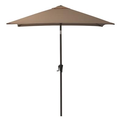 CorLiving 9' Outdoor Square Tilting Patio Umbrella, Brown, large