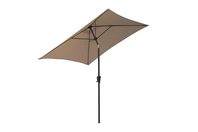 CorLiving 9' Outdoor Square Tilting Patio Umbrella, Brown, large