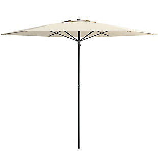 CorLiving 7.5' Outdoor UV and Wind Resistant Beach/Patio Umbrella, White, large