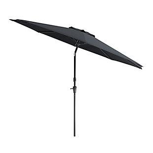CorLiving 10' Outdoor Tilting Patio Umbrella, Black, large