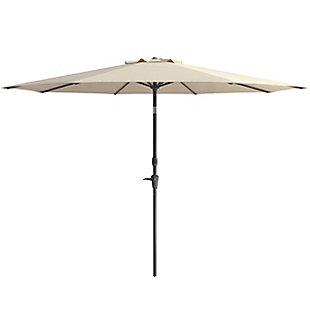 CorLiving 10' Outdoor Tilting Patio Umbrella, White, large
