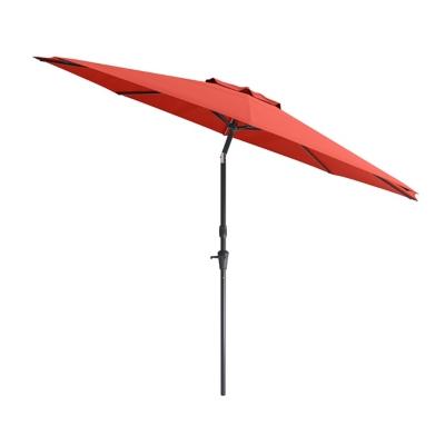 CorLiving 10' Outdoor Tilting Patio Umbrella, Red, large