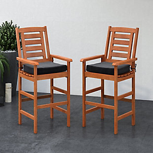 CorLiving Outdoor Hardwood Bar Height Chairs (Set of 2), , rollover
