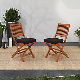 CorLiving Outdoor Hardwood Folding Chairs (Set of 2), , rollover