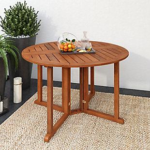 CorLiving Outdoor Hardwood Drop Leaf Dining Table, , rollover