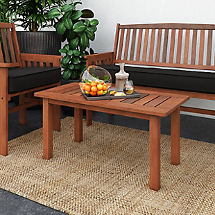 CorLiving Outdoor Hardwood Coffee Table, , rollover
