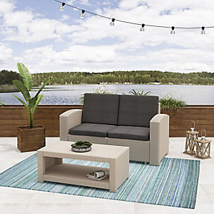 CorLiving 2-Piece Outdoor All-Weather Loveseat Patio Set with Cushions, , rollover