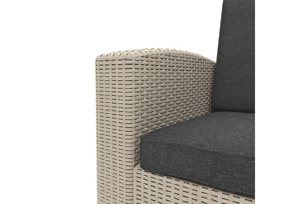 CorLiving 2-Piece Outdoor All-Weather Loveseat Patio Set with Cushions, Beige, large