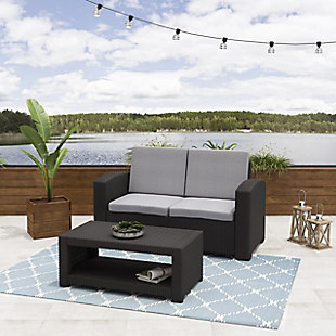 CorLiving 2-Piece Outdoor All-Weather Loveseat Patio Set with Cushions, , large