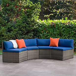 Parksville  Outdoor Patio Sectional Bench Set with Cushion, , rollover