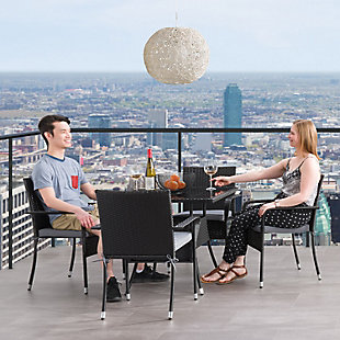 Parksville  5-Piece Outdoor Square Patio Dining Set with Stackable Chairs, , rollover