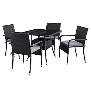 Parksville  5-Piece Outdoor Square Patio Dining Set with Stackable Chairs, , large