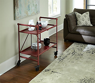 COSCO Outdoor Living Folding Serving Cart with Wheels and 2 Slatted Shelves, , rollover