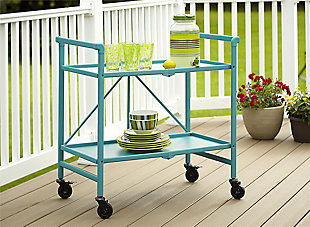 COSCO Outdoor Living Folding Serving Cart with Wheels and 2 Shelves, , rollover